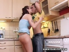 A young amateur couple homemade hardcore action in the kitchen with blowjob and fuck ending with a h Thumb