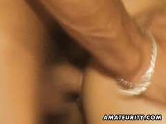 A skinny blonde amateur girlfriend homemade hardcore action with blowjob and fuck ending with huge f Thumb