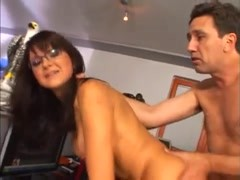 Sexy brunette in home office has anal Thumb
