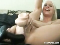 blondie destroys her cootchie and arse with dildos Thumb