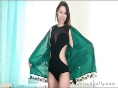Green satin robe on remarkable  brunette teenage Thumb