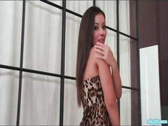 Leopard print party dress is stunning on a teenage  lady Thumb