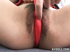 Asian babe is rubbing on her sweet clit hard Thumb
