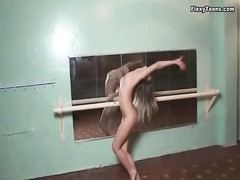 youthful brunette in ballet studio is desirable bendy Thumb