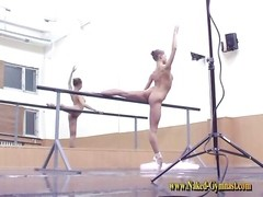 teenage  ballerina works out on the plank Thumb