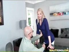 adorable  blondy in taut  clothes takes off on camera Thumb