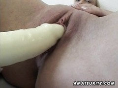 A busty blonde amateur Milf homemade hardcore action with pussy toying and blowjob ending with facia Thumb