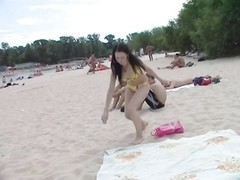 youthfull  nudist buddies naked together at the beach Thumb