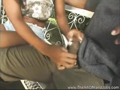African dame giving her bf  a hj  outdoors. Thumb