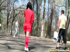Soccer chicks divulge breasts and bootie outdoors Thumb