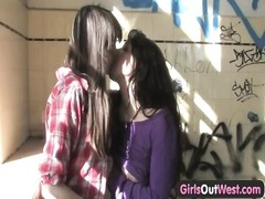 Long haired amateur lesbian girls finger and lick each other's hairy pussy Thumb