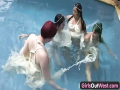 damsels  Out West - lesbo pool orgy Thumb