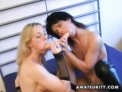 Two very hot and naughty amateur lesbian babes sucking and playing with sextoys ! Pussy licking, str Thumb