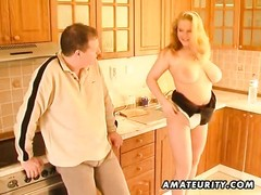A very chesty blonde fledgling  housewife homemade xxx  act in her kitchen: blowage , titjob and cum Thumb