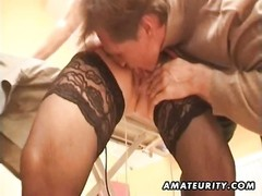 A buxom outmoded fledgling  housewife homemade xxx  activity  with bj and fuck ending with a vast fo Thumb