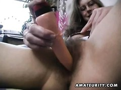 A very hairy amateur housewife homemade hardcore action with bush toying, pussy shaving and cock rid Thumb