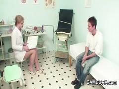 dame milf Doctor pokes  young German Patient in Examination Thumb