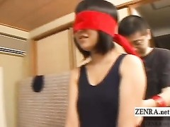 Blindfolded Japanese ladies escorted into box Subtitles Thumb