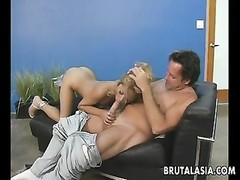 yellow-haired oriental whore rides the schlong so she cums selfishly Thumb