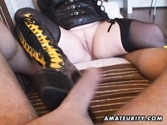 A buxomy fledgling  housewife homemade xxx  action with hand job and blowjob ending with a jizz shot Thumb