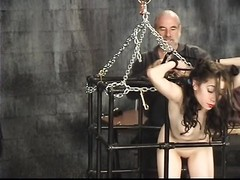 young brunette slip to cage then gets pussy banged Thumb