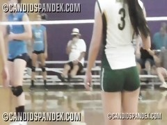 Volleyball player in tight spandex short cut-offs Thumb
