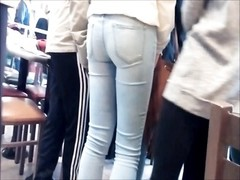youthful COLLEGE damsel VERY tight ass IN clear jeans HIDDEN CAM Thumb