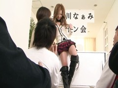 Japanese hottie gets her snatch filled with fucktoys  during 3 way Thumb