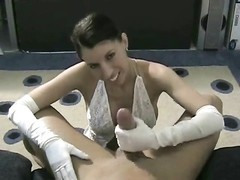 White satin gloves female gives hj Thumb