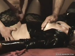 bad slave wife Marion gangbanged and cummed by eight boys  at domestic, while her husband films the Thumb