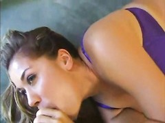 close up on a female deepthroating a large monster Thumb