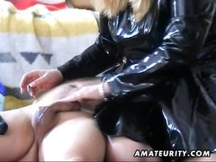 A nasty fledgling  housewife gives a molten and bizarre bj and hj  in a dusky plastic condom to her Thumb