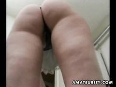 A blondy old amateur housewife cleaning her house and getting banged, ending with a super hot oral p Thumb