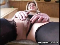 A wicked yellow-haired fledgling  milf homemade onanism , deep throat and pulverize with her husband Thumb