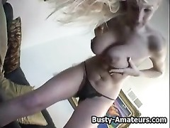Hot blonde babe Autumn playing her boobs and pussy Thumb
