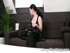 Casting HD Brunette with braces attempts deep throat Thumb