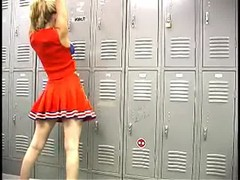 Innocent Babes Cartel cheerleader is getting topless in the locker room Thumb