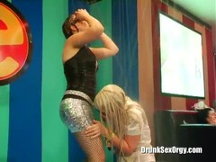 Lusty as fuck drunk hookers are getting wet in the club Thumb