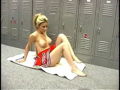 Busty cheerleader pornstar is having fun with herself in the locker room Thumb