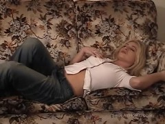 Blonde is lying on the sofa and soloing like a pornstar Thumb