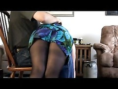 Spank-Blue Dress-Pink Butt. Thumb