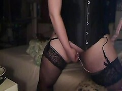 MY DEVOTE WIFE PLAYING WITH VIBRO-EGG IN STOCKINGS Thumb