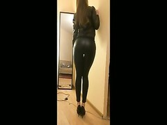 rubbering and hidden blowjob with girl in leather outfit Thumb