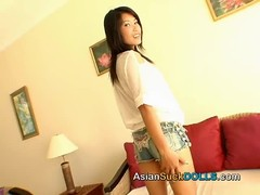 Smiling Asian hooker with round butt fucked in the doggy style Thumb