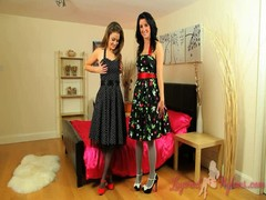 Two awesome ladies in nylons are slowly getting naked Thumb