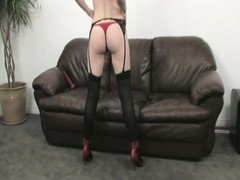 Brunette in sexy red lingerie masturbates solo with a toy Thumb