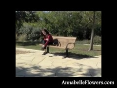 Awesome redhead milf Annabelle Flowers is taking off her socks outdoors Thumb
