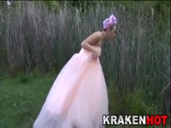 Crazy and submissive bride, Submission game in the street!!! Thumb