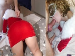 Xmas elf gets her pussy covered with cum Thumb