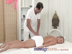 Massage Rooms Innocent young girl has her tight hole creamed by horny guy Thumb